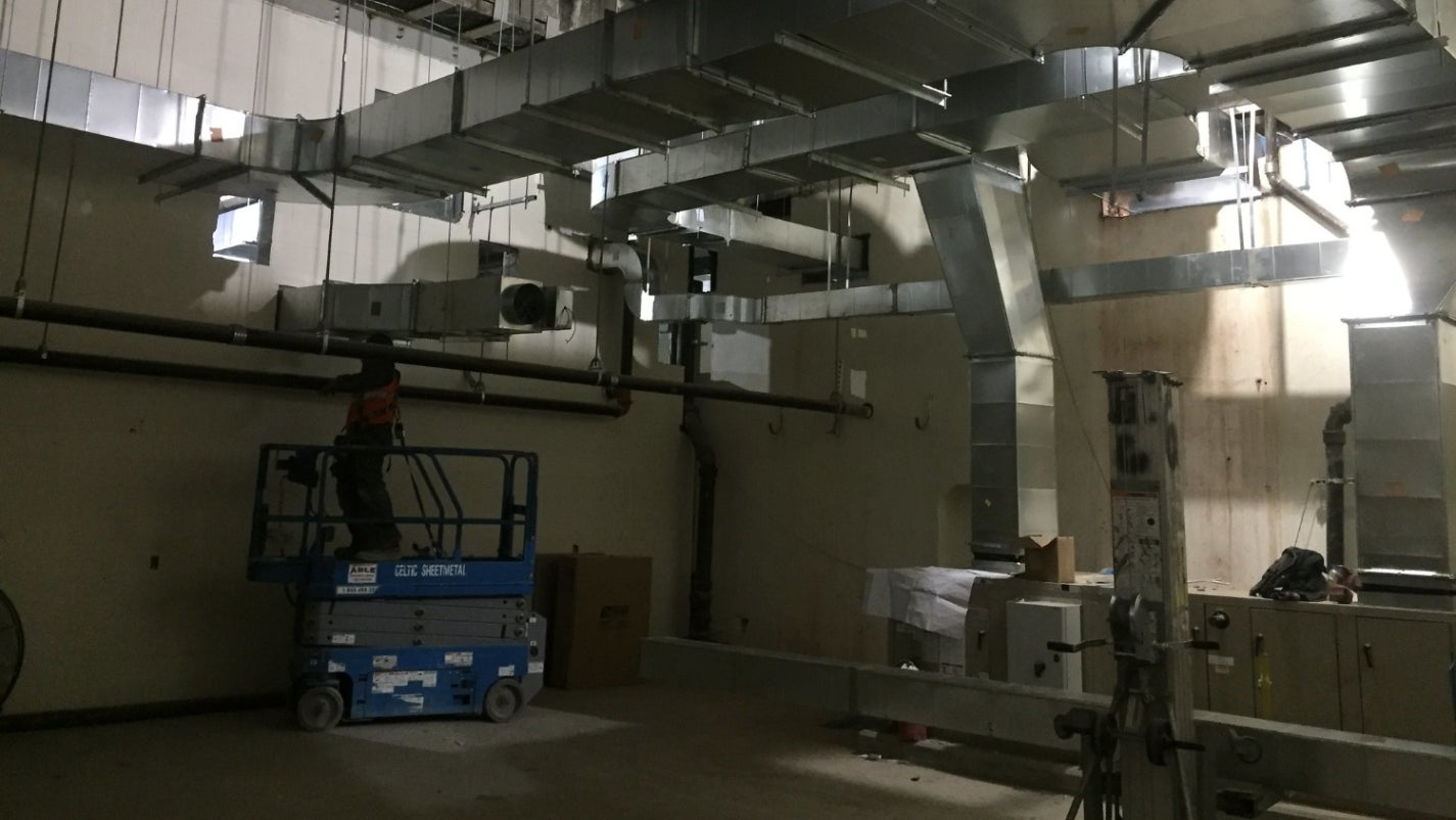 Ductwork on ceiling of an industrial building