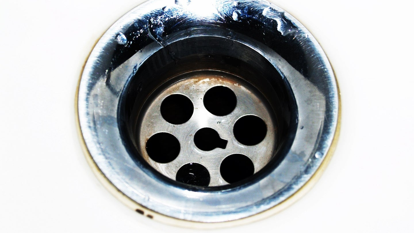 Close up of a sink drain