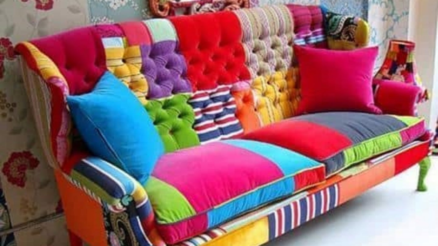 Colorful patchwork couch.