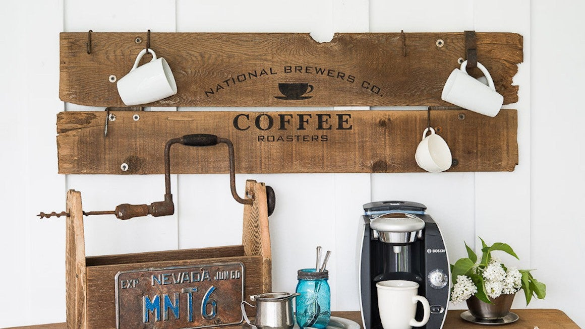 Reclaimed wood sign for coffee station
