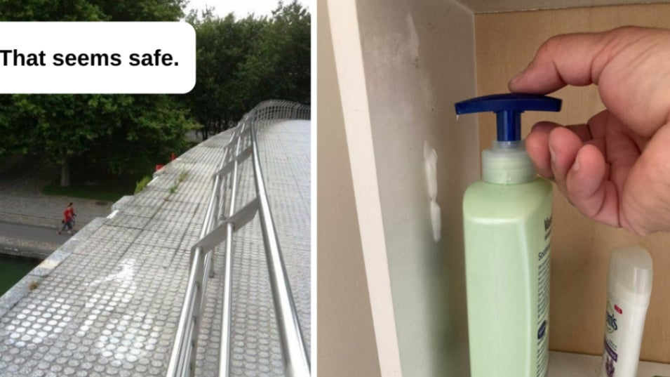 A bike lane on a bridge that has no fence to protect cyclists from falling; a lotion bottle with a pump that's the same length on both ends.