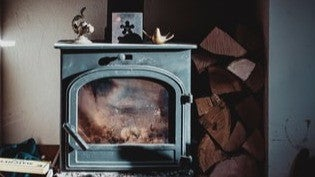 black and silver electric fireplace