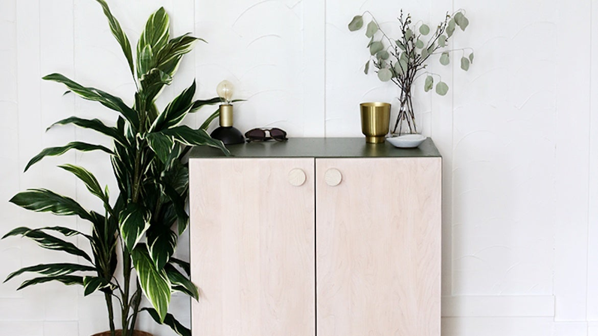 DIY painted cabinet out of upper kitchen cabinets