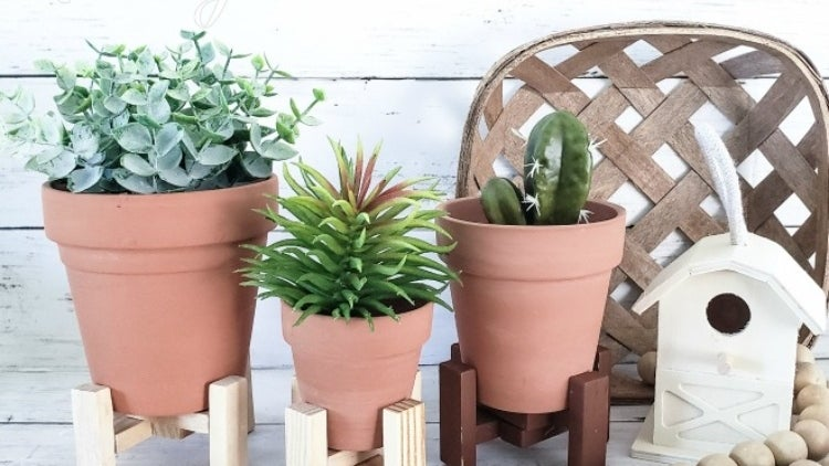 Three-plants stands in from of white planks and decor accesories