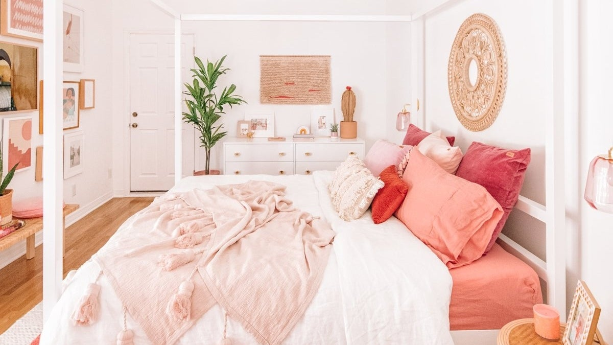 Master bedroom with bold pinks and peaches