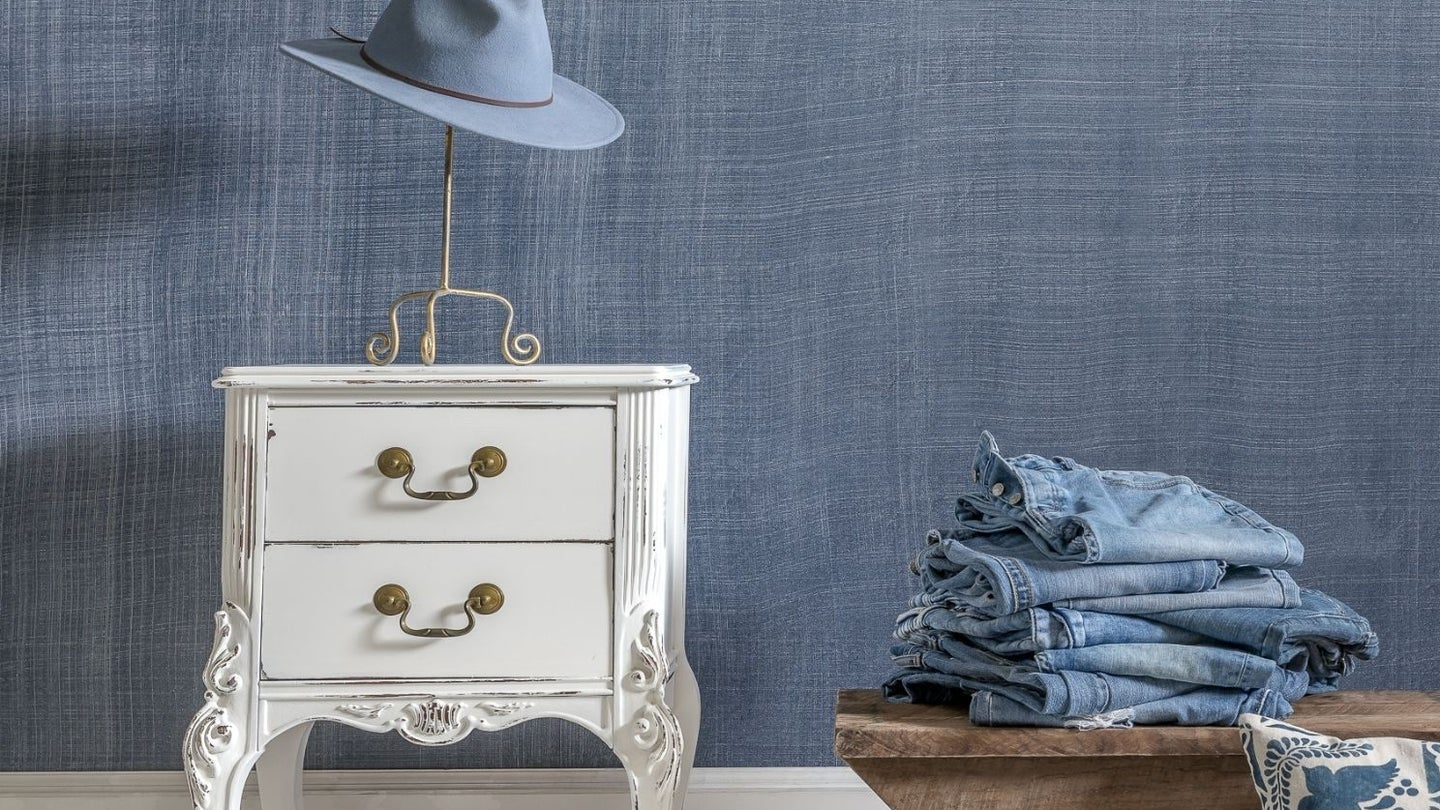 a wall painted with glaze paint to look like denim