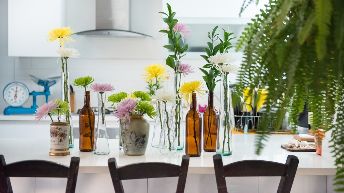 Flowers on a kitchen counter