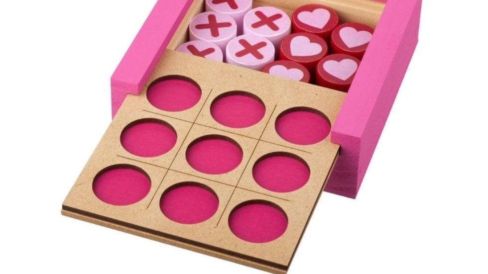 Build your own tic-tac-toe kit assembled and painted pink and red for Valentine's Day